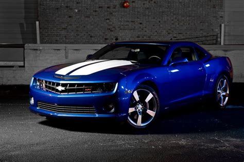 blue camaro with white stripes blue camaro ss with white rally stripes car