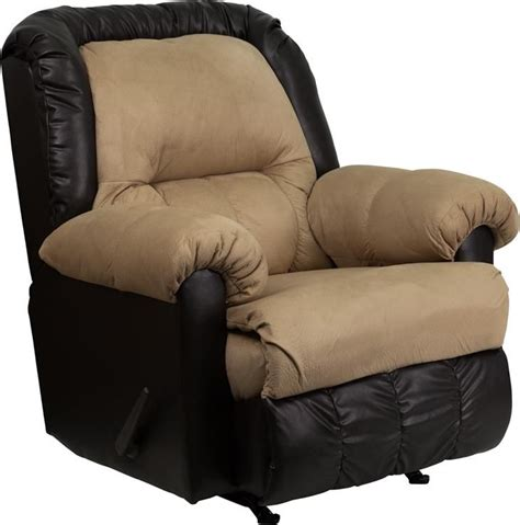Contemporary Styling Rocker Recliner Tan Colored