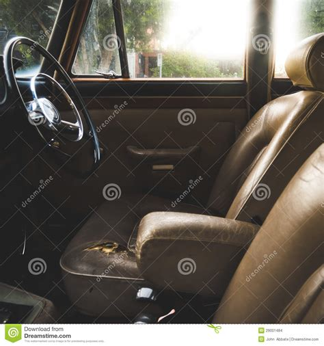 leather car upholstery worn vintage leather auto interior stock images image