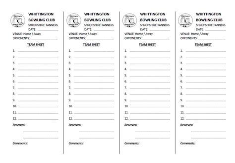 Team Sheet Template team templates forms whittington cricket bowling club