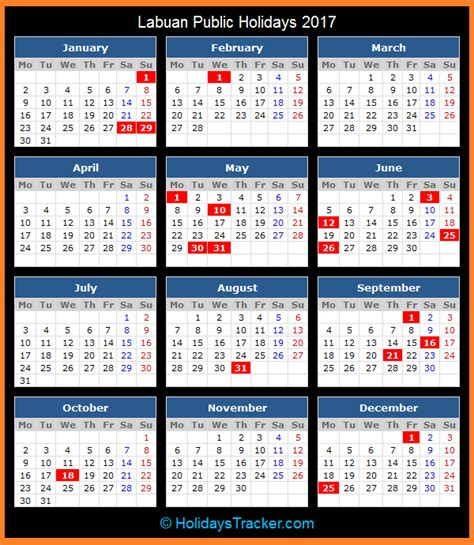 Printable Calendar 2017 Malaysia Public Holiday | labuan malaysia public holidays 2017 holidays tracker