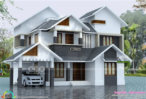 Sloping House Plans by 2145 Sq Ft Sloped Roof House Plan Kerala Home Design And