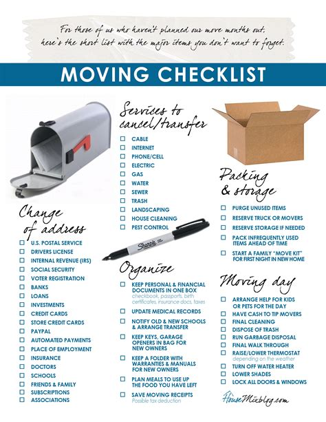 moving house to do list template click image to checklist