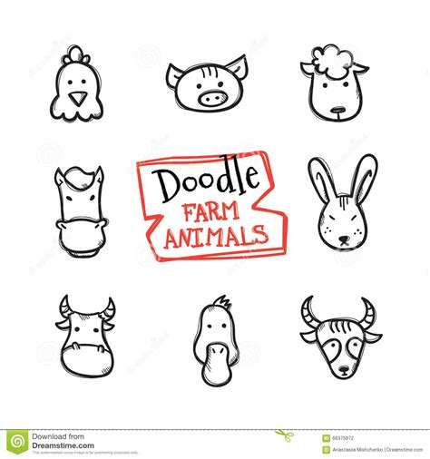 doodle animals vector free vector doodle style farm animals icons set