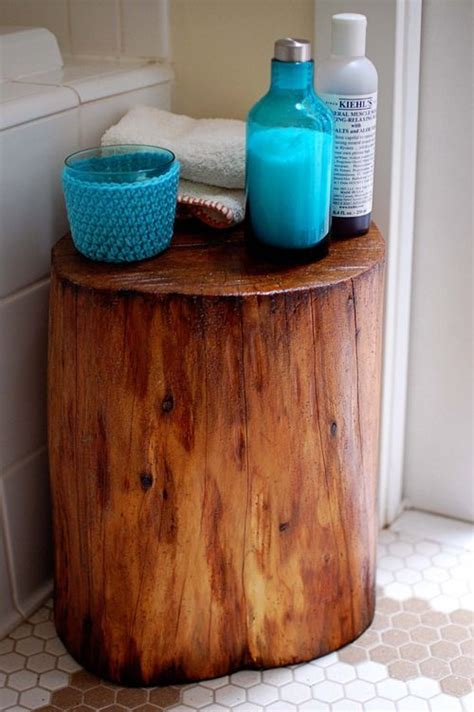wood stump stool diy diy tree stump i like this for tub side diy home decor