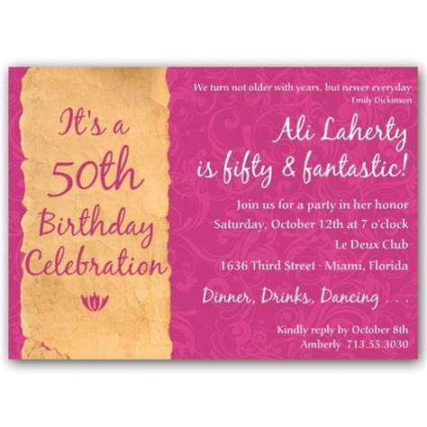 sle 50th birthday invitations pink free 50th birthday invitations templates