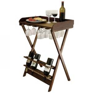 winsome wood folding wine table with glass rack holds 4 bottles antique walnut tulipgourmet