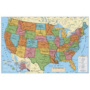 laminated maps of the united states classroom maps globes laminated political poster map