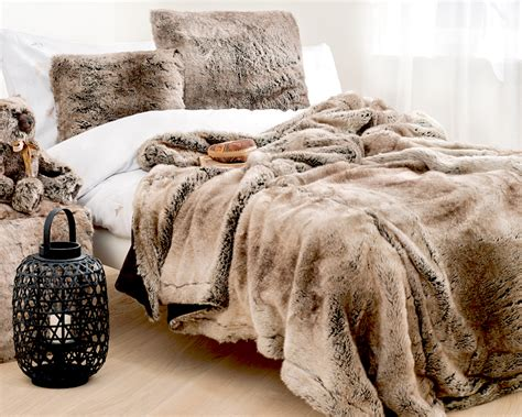 winter home luxurious faux fur plaid yukon wolf renio