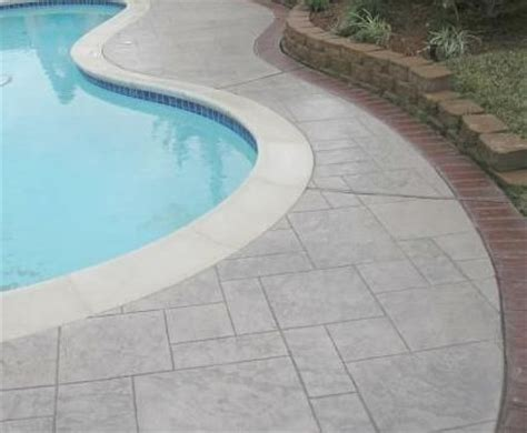 paver brick pool deck with brown concrete and pavers concrete pool deck ideas natural flagstone decking