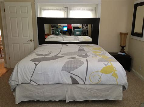 diy headboard using large mirror from ikea for a king size bed looks great another