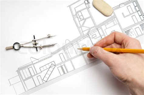 architecture drawing tool architecture blueprint tools stock photo colourbox