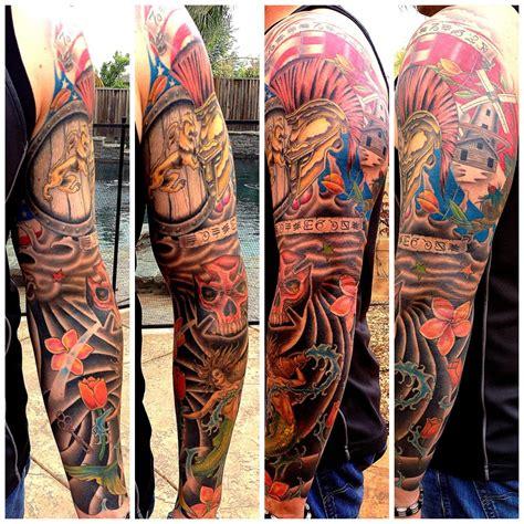 dutch tattoos sleeve ink arm color mermaid