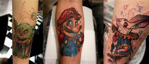 cartoon watercolor tattoo cartoon inspired watercolor tattoos by brasilian artist