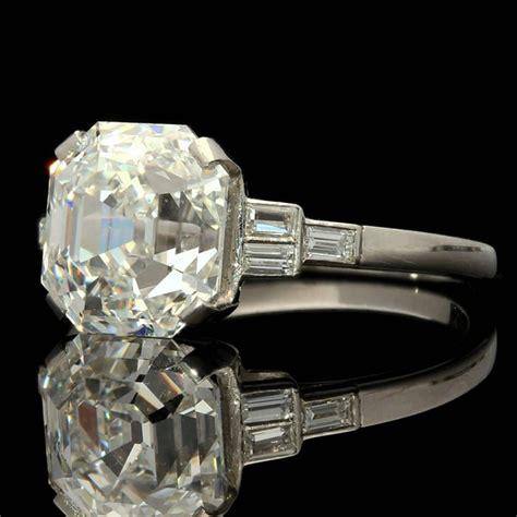 stunning 4 09 carat asscher cut platinum ring for