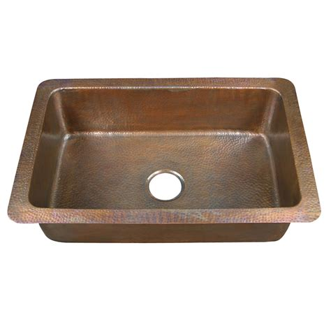 Drop In Copper Kitchen Sinks Shop Barclay Hammered Antique Copper Single Basin Drop In Kitchen Sink At Lowes