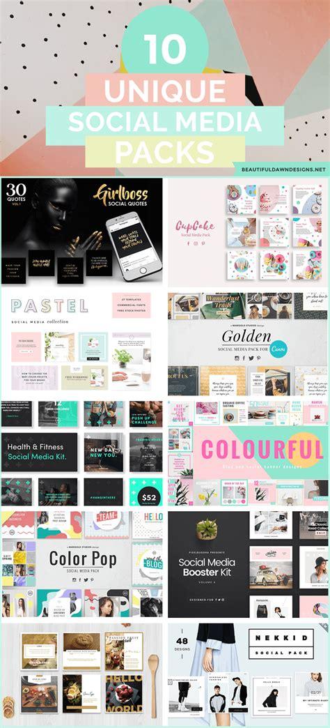 10 Unique Social Media Template Packs Beautiful Dawn Designs Social Media Design Templates