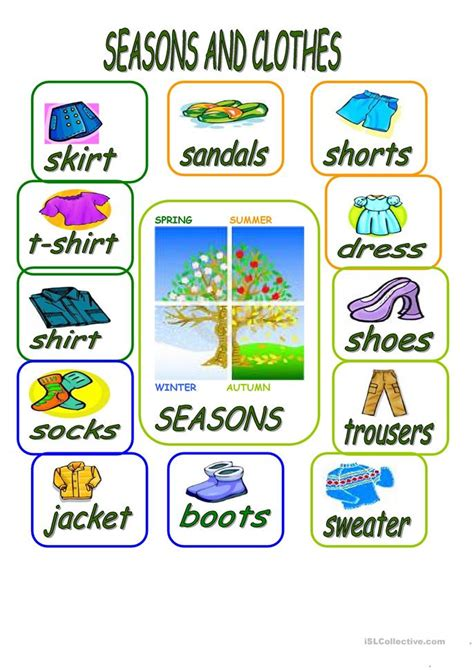 clothes for different seasons worksheet seasons and clothes worksheet free esl printable