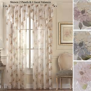 Sheer Window Curtains Water Floral Scroll Sheer Window Treatment