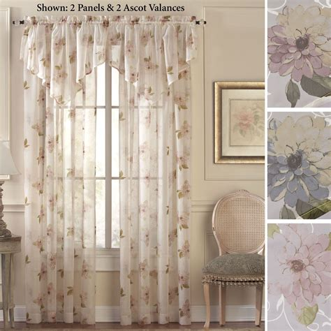 curtains sheers window treatments water floral scroll sheer window treatment
