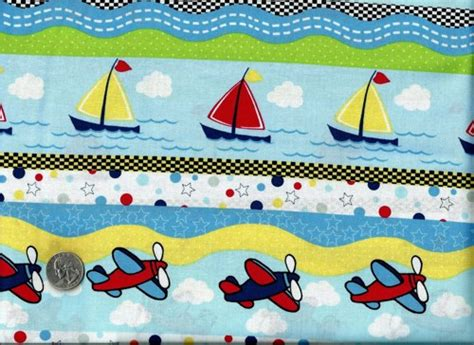 Sailboat Quilt Fabric by 1 2 Yard Quilt Fabric On The Go Planes Sailboat Truck Boy