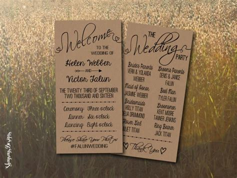 Kraft Wedding Program Printable Rustic Wedding Program Template Diy Wedding Fan Download Free Rustic Wedding Program Templates