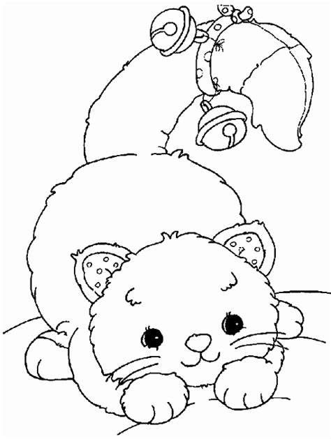 playful cat with bells coloring page