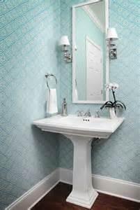 Powder Room Pedestal Sink Blue Geometric Wallpaper Pedestal Sink Bed Amp Bath