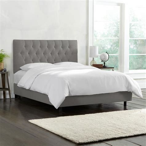 Tufted Headboard Bed Linen Grey Tufted Bed 540bedlnngr The Home Depot