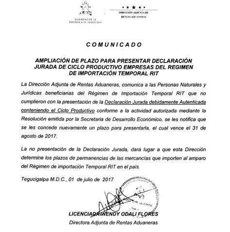 declaracion jurada para regimen aduanero ampliaci 243 n de plazo para presentar declaraci 243 n jurada de