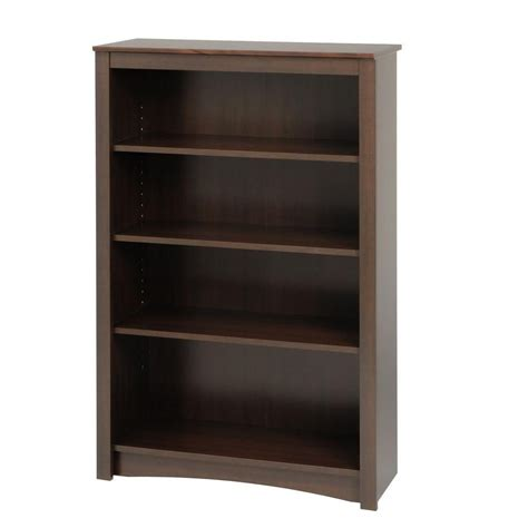 prepac espresso 4 shelf bookcase the home depot canada
