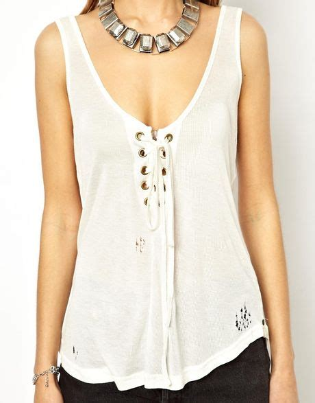 Lace Up Tank Top one teaspoon lace up tank top in white lyst