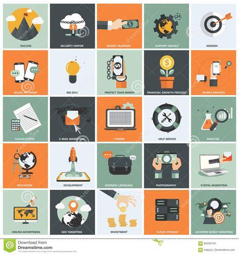 design analysis icon design services icon set mobile geo technology business concept stock