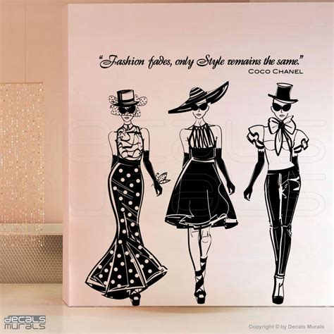 Bathroom Artwork Ideas by Wall Decals Fashion Models With Coco Chanel Quote By