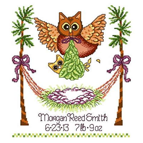 Owl Birth Record Cross Stitch Baby Owl Birth Record Cross Stitch Pattern Baby