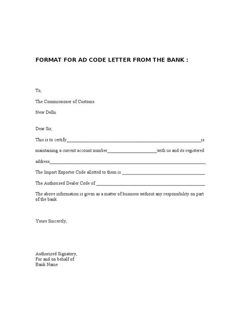 Request Letter Format For Adding Authorised Signatory Ad Code Letter From The Bank