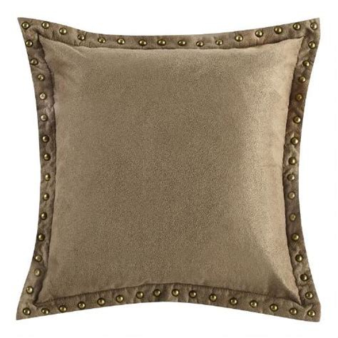 faux suede toss pillow with nailhead trim tree