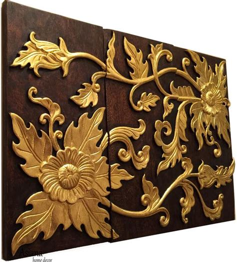 wood carved wall plaque floral wood wall panels asiana home decor