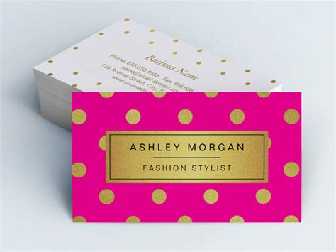 Gold Fashion Stylist Business Card Template by Gold Glitter Polka Dots Stylish Pink Business
