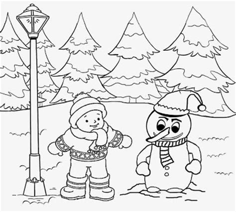 coloring pages winter landscape snow coloring pages for preschool colorings net