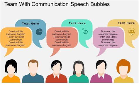 Team With Communication Speech Bubbles Flat Powerpoint Design Speech Bubbles In Powerpoint