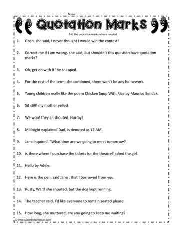 Free Printable Worksheets Quotation Marks | quotation mark worksheet worksheets