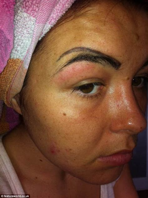 above eyebrow tattoo looks like a clown after botched eyebrow