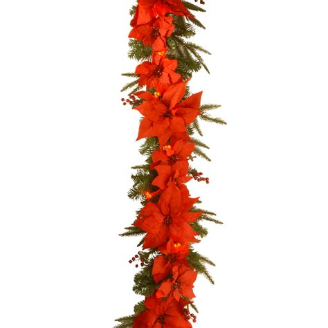 National Tree Company 6 Ft Poinsettia Garland With Poinsettia Tree Lights