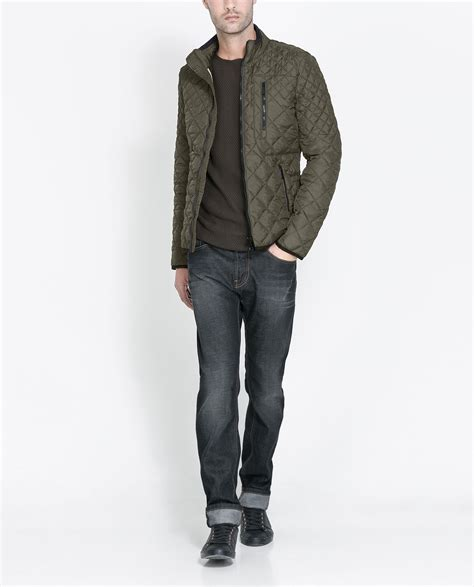 Zara Quilted Vest zara quilted jacket in khaki for lyst