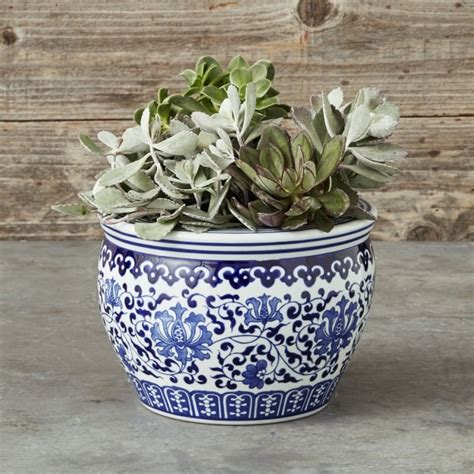 Blue And White Ceramic Planter Floral Williams Sonoma Blue And White Planters