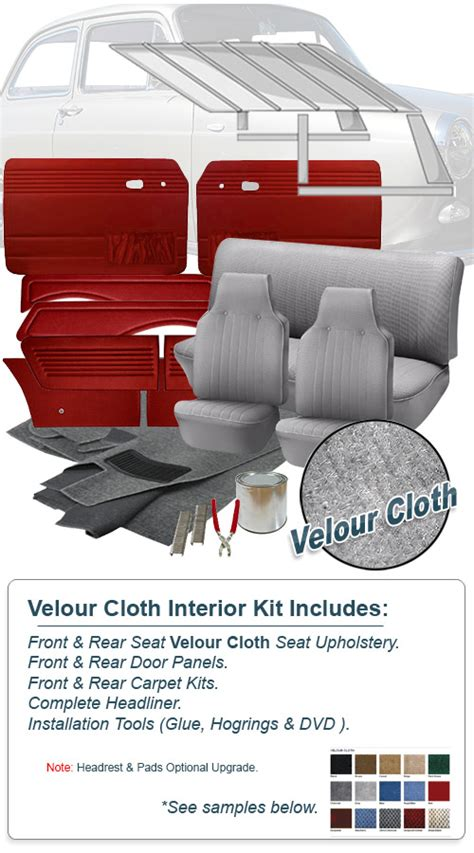 vw upholstery kits deluxe velour cloth vw interior kit notchback 1968 1969