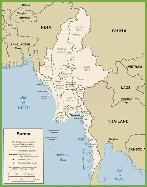 where is myanmar on the map burma political map