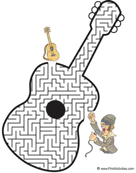 printable music maze guitar maze shaped like a guitar