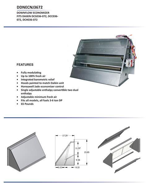 ton daikin downflow economizer dcc dcg dch models